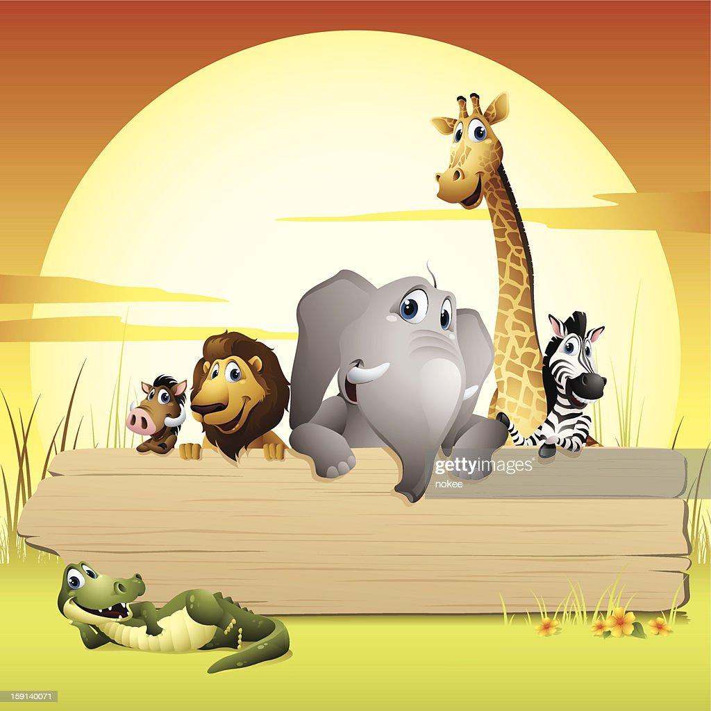 Animaux d'Afrique-panneau : Clipart vectoriel