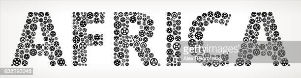 africa black gears vector graphic illustration - politics and government stock illustrations, clip art, cartoons, & icons