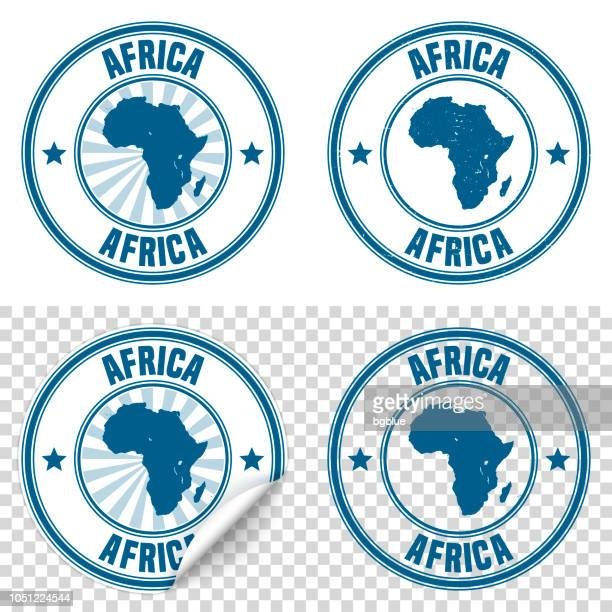 Africa - Blue sticker and stamp with name and map