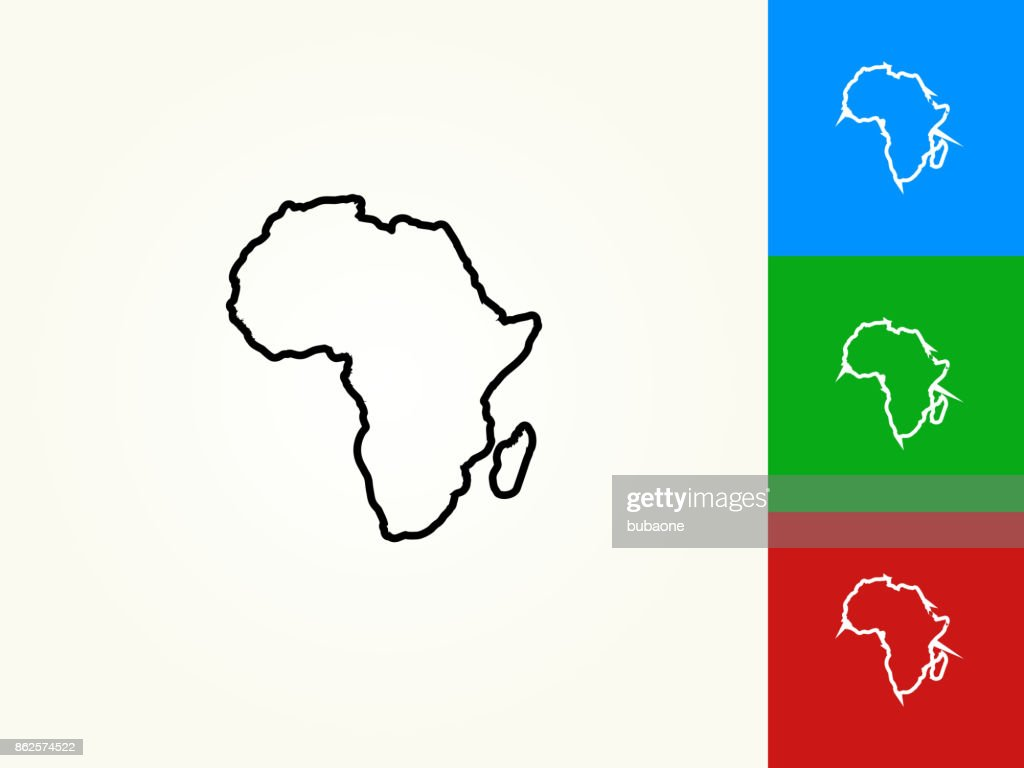 Africa Continent Black Stroke Linear Icon