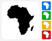 Africa Continent Icon Flat Graphic Design