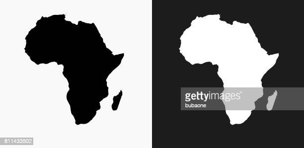 Africa Continent Icon on Black and White Vector Backgrounds