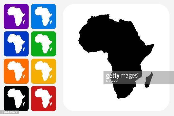 Africa Continent Icon Square Button Set