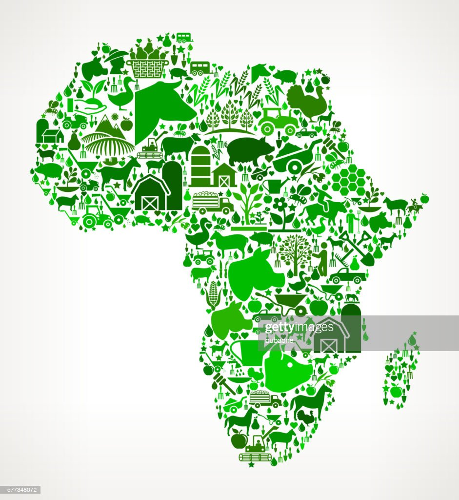 Africa Farming and Agriculture Green Icon Pattern