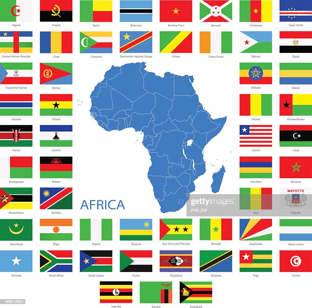 Africa - Flags and Map - Illustration