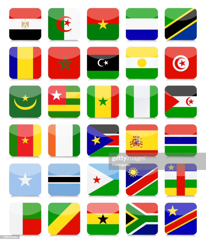 Africa Flags Flat Square Icon Set 1