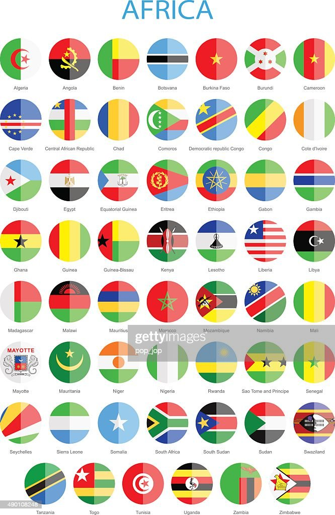 Africa - Flat Round Flags - Illustration