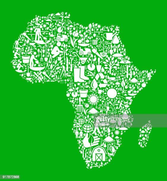 Jardín de África y jardinería Vector icono patrón