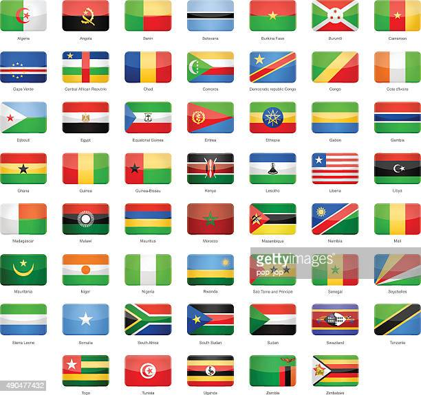 africa - glossy rectangle flags - illustration - senegal stock illustrations, clip art, cartoons, & icons