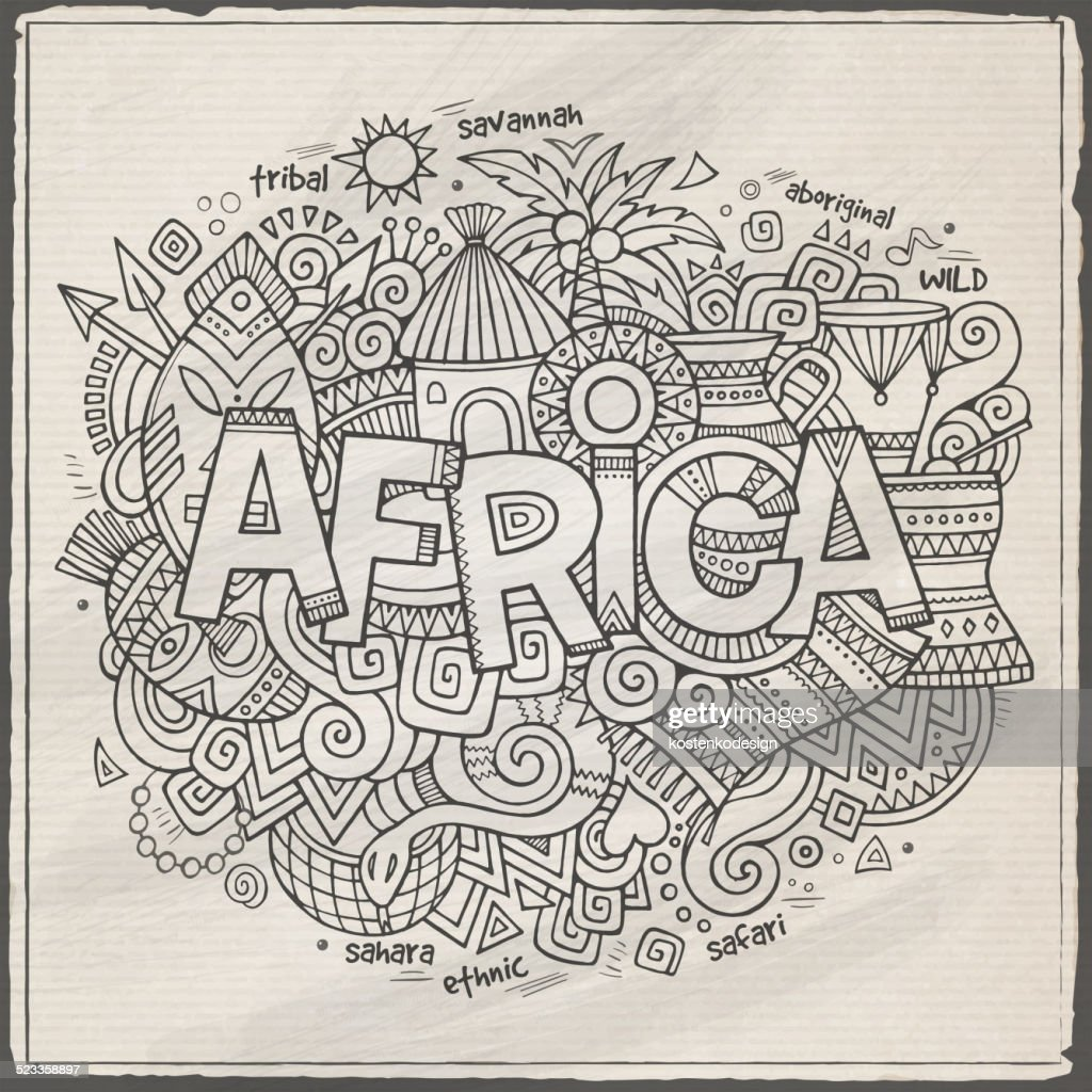 Africa hand lettering and doodles elements background