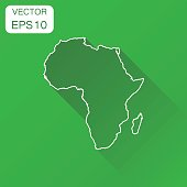 Africa linear map icon. Business cartography concept outline Africa pictogram. Vector illustration on green background with long shadow.