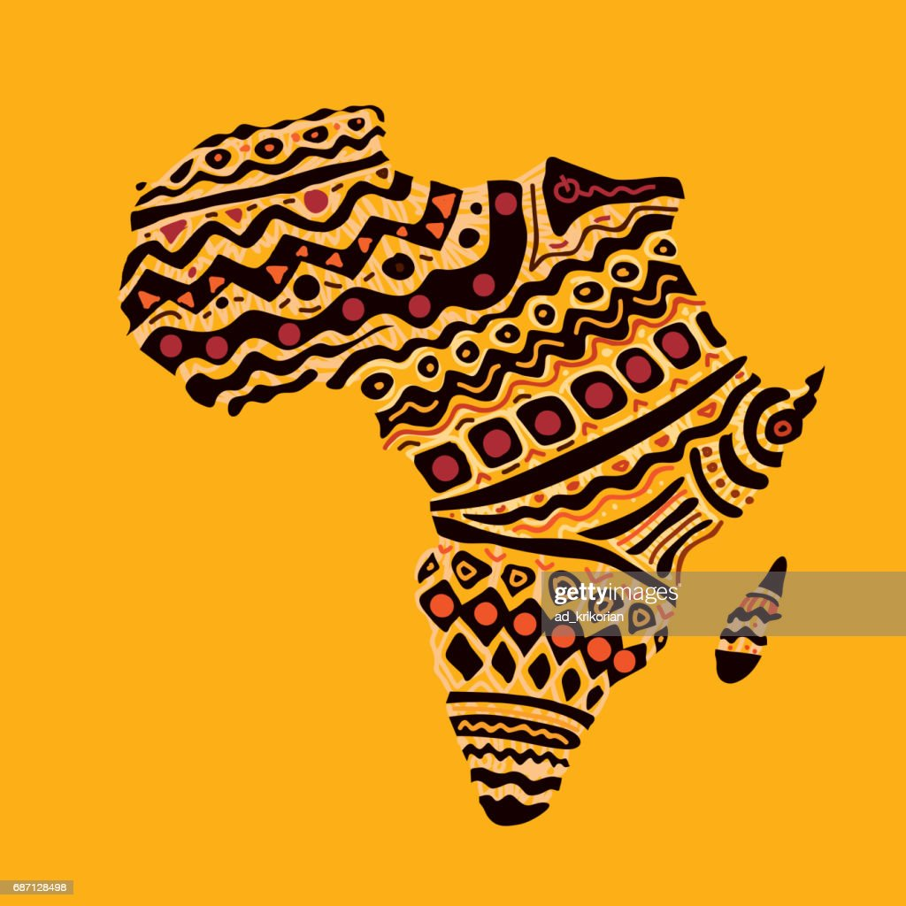 Africa Map, African Warm Colors (Vector Art)