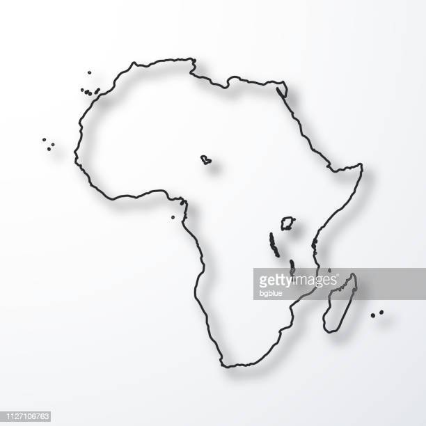 Africa map - Black outline with shadow on white background