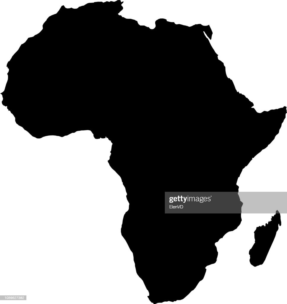 Africa map black silhouette country borders on white background. Contour of state. Vector illustration