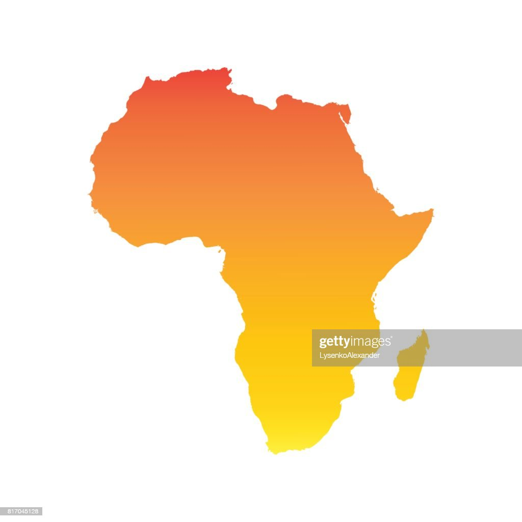 Africa map. Colorful orange vector illustration