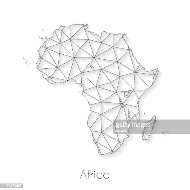 africa map connection - network mesh on white background - french overseas territory stock illustrations