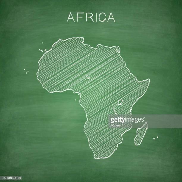 Africa map drawn on chalkboard - Blackboard
