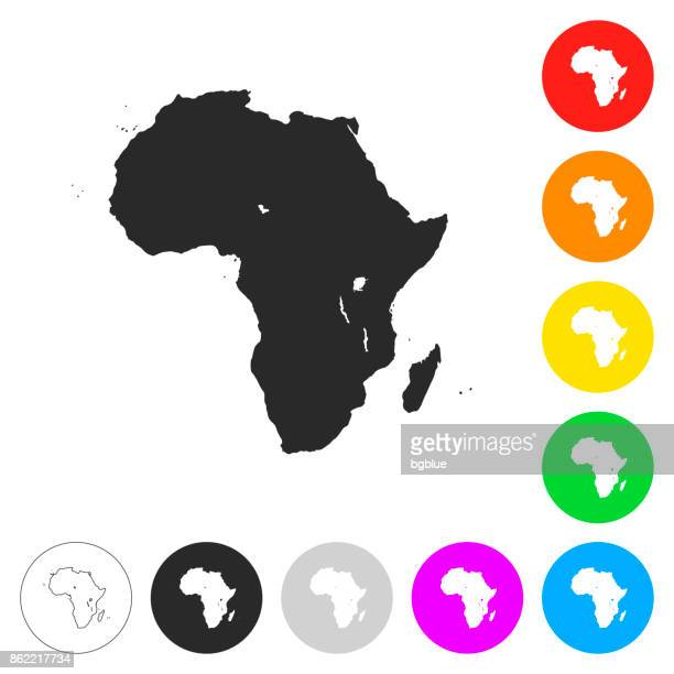 Africa map - Flat icons on different color buttons