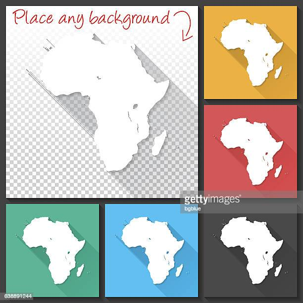Africa Map for design, Long Shadow, Flat Design