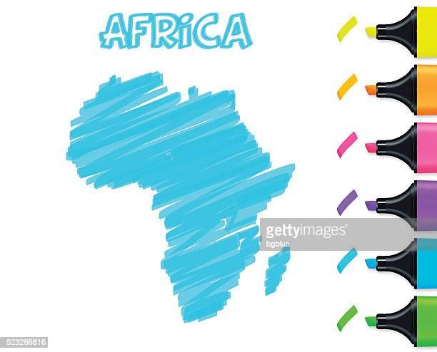ilustrações, clipart, desenhos animados e ícones de áfrica mapa desenhado à mão sobre fundo branco, azul marcador - libéria