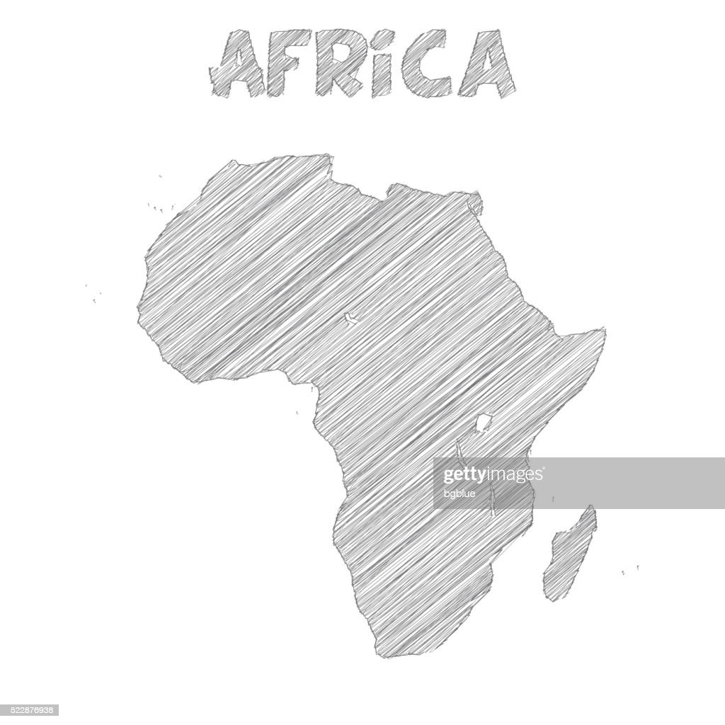 Africa Map Hand Drawn On White Background : Vector Art