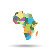 Africa map icon. Flat vector illustration. Africa sign symbol with shadow on white background.