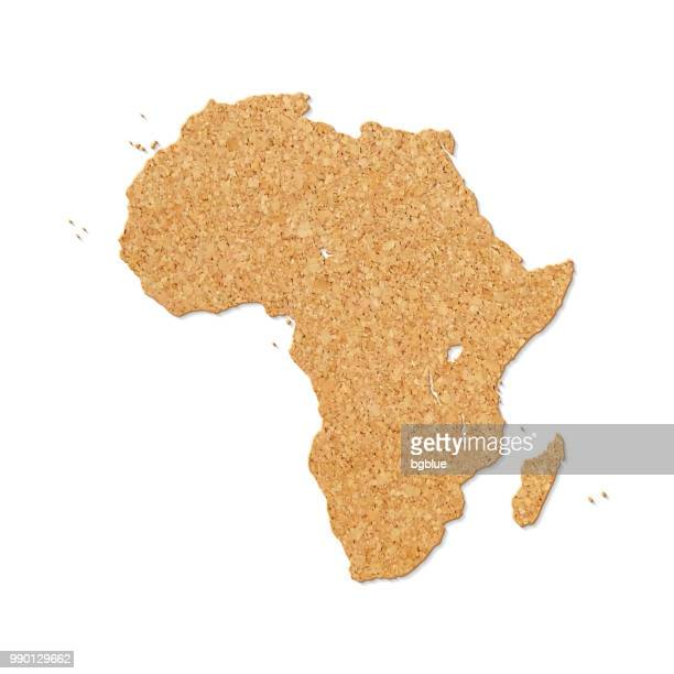 Africa map in cork board texture on white background