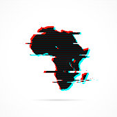 Africa map in distorted glitch style. Modern trendy effect