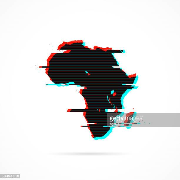 africa map in distorted glitch style. modern trendy effect - french overseas territory stock illustrations