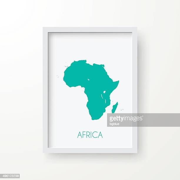 Africa Map in Frame on White Background