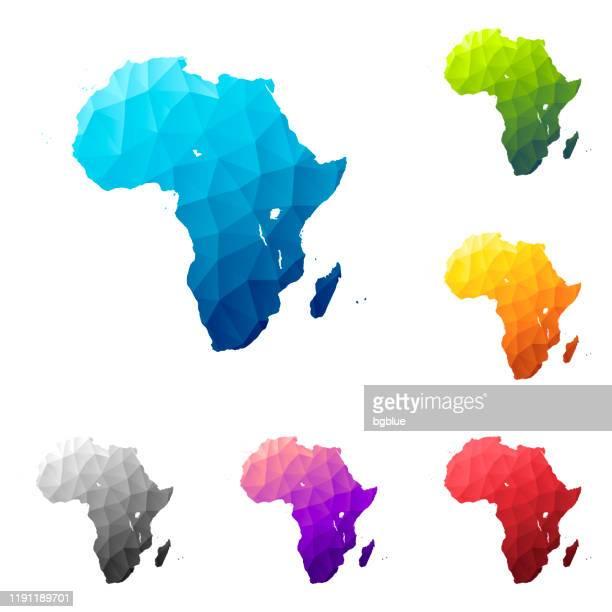 ilustrações, clipart, desenhos animados e ícones de áfrica mapa em estilo baixo poly - design geométrico poligonal colorido - cabo verde