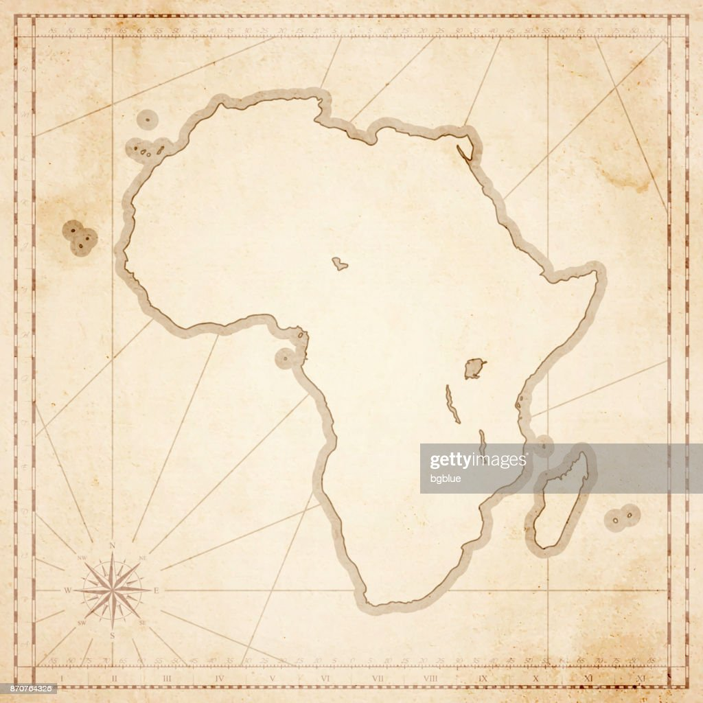 Africa Map In Retro Vintage Style Old Textured Paper Vector Art