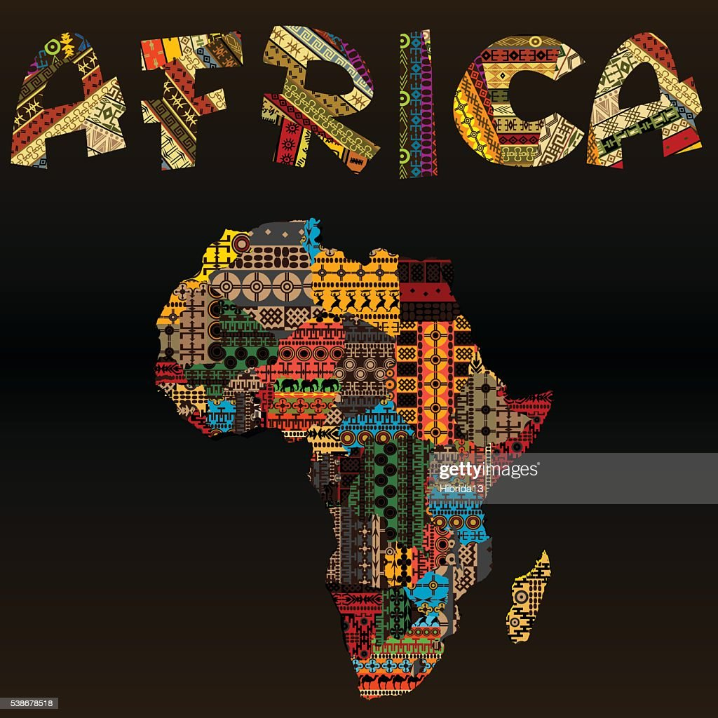 Africa map  made of patchwork fabric texture