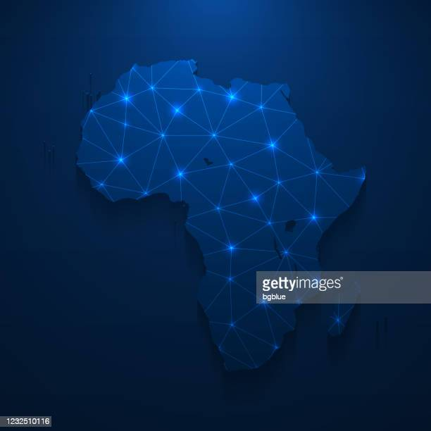 ilustrações, clipart, desenhos animados e ícones de rede de mapas da áfrica - malha brilhante em fundo azul escuro - cabo verde