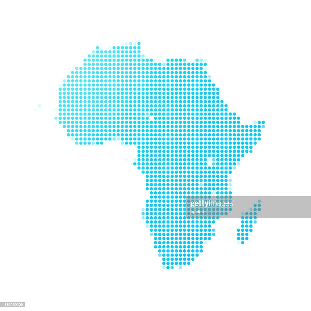 Africa map of blue dots on white background