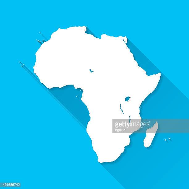 africa map on blue background, long shadow, flat design - mozambique stock illustrations, clip art, cartoons, & icons