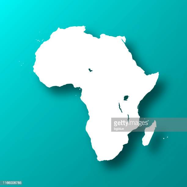 Africa map on Blue Green background with shadow
