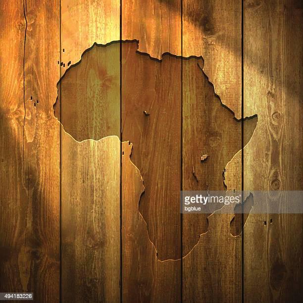ilustrações, clipart, desenhos animados e ícones de áfrica mapa em luz de fundo de madeira - libéria