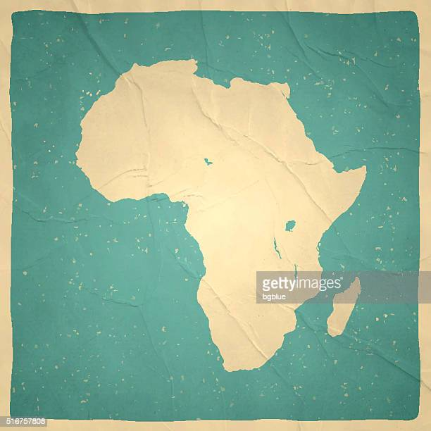 Africa Map on old paper - vintage texture