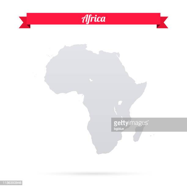 Africa map on white background with red banner