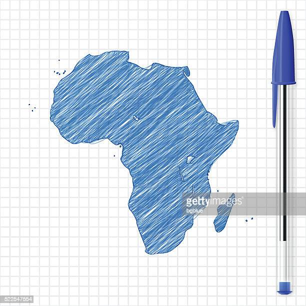 africa map sketch on grid paper, blue pen - ballpoint pen stock illustrations, clip art, cartoons, & icons