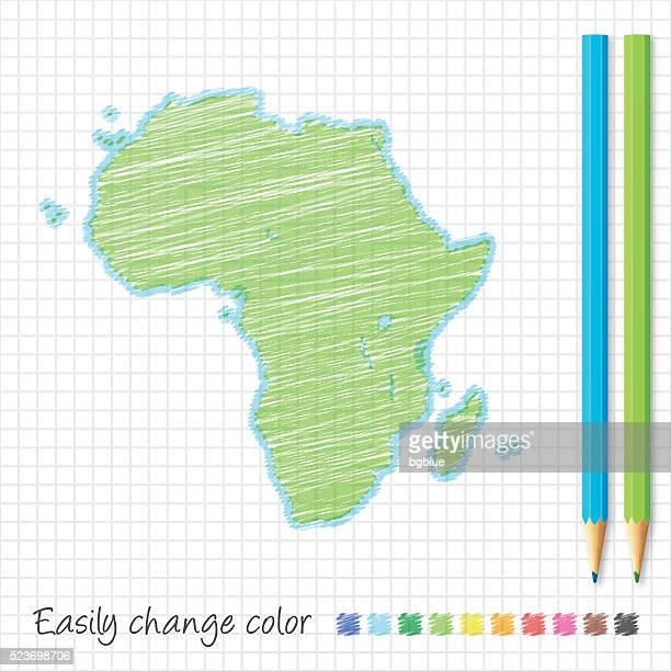 ilustrações, clipart, desenhos animados e ícones de áfrica mapa de esboço com lápis de cores, no papel da grade - libéria