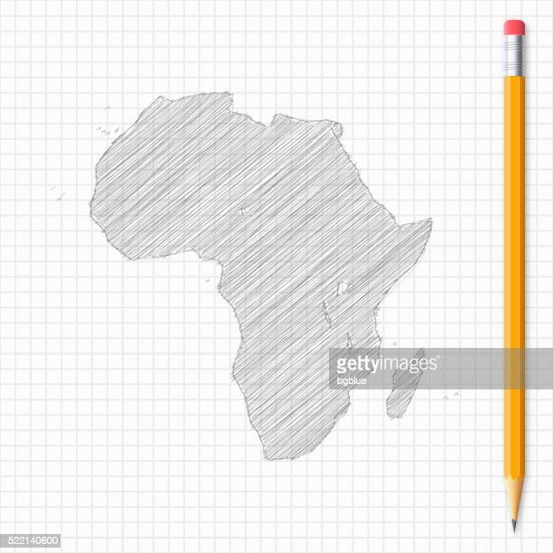 Africa map sketch with pencil on grid paper