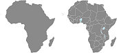 Africa map vector outline illustration with countries borders in gray background. Highly detailed accurate map of African continent prepared by a map expert.