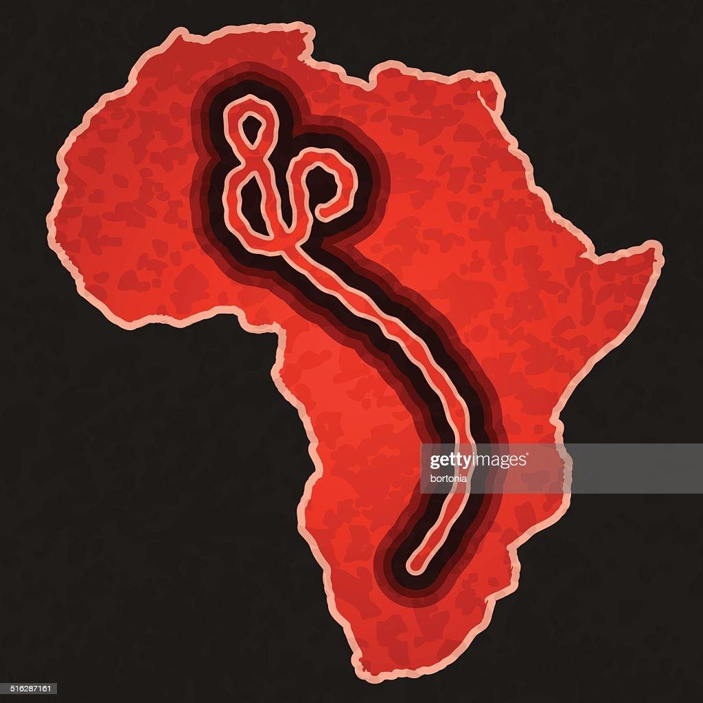 Africa Map with Ebola Virus Overlay : stock illustration