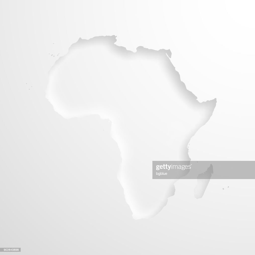 Africa map with embossed paper effect on blank background : Stock Illustration