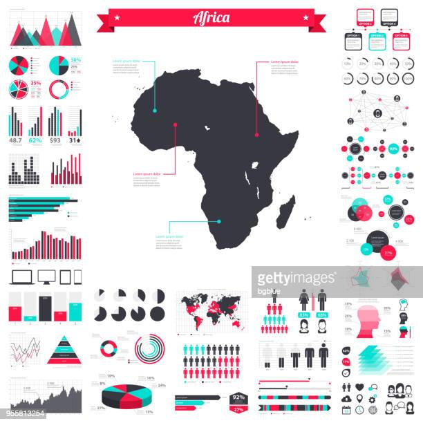 Africa map with infographic elements - Big creative graphic set