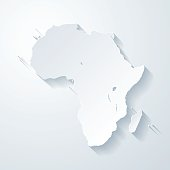 Africa map with paper cut effect on blank background