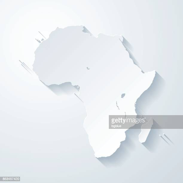 africa map with paper cut effect on blank background - french overseas territory stock illustrations