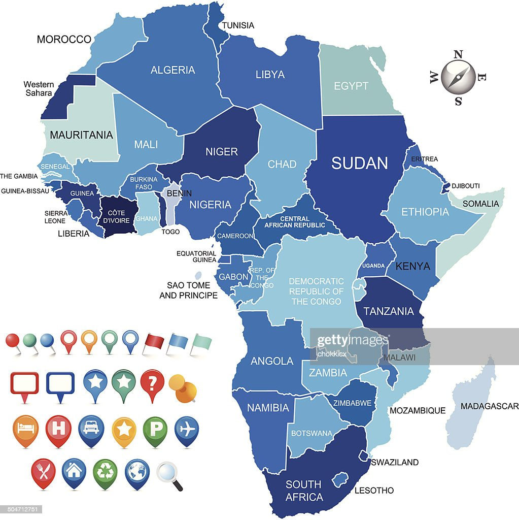 africa map with various gps icons